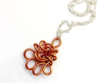 CLEARANCE! Copper Wire Pendant Necklace Mixed Metals Jewelry