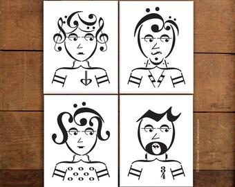 Music note art prints, ROCKER SERIES, Set of 4 music art prints - 5x7, 8x10, 11x14 Fine art prints, Music room decor, Treble clef art