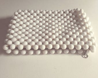 60's MOD BEADED Vintage White Lined Macrame Coin Purse