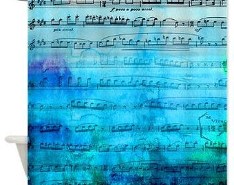 Watercolor Music Shower Curtain - Blue mood music, unique,blue,music, teal, painted, colorful, sing, decor, home