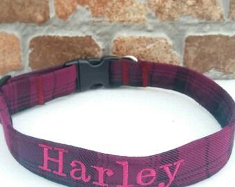 Personalized Dog Collar, Personalised Collar, Personalized Collar, Dog Collar, Large Dog Collar, Small Dog Collar, Bow Tie Dog, Plaid Collar