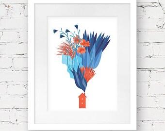 scandinavian art print, house art print, geometric wall art, blue red art print, nordic design, minimalist art poster, house illustration