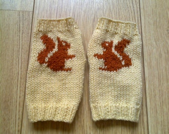 Squirrel wrist warmers - fingerless gloves