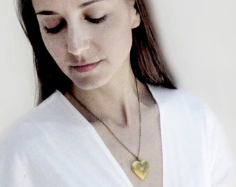 Brass Floral Heart Locket Necklace