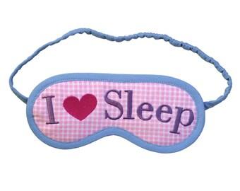 I Love Sleep eye mask, I heart sleep mask, Pink heart embroidered blindfold, Checked sleeping mask, Sleepmask gift for her, Pastel eyemask