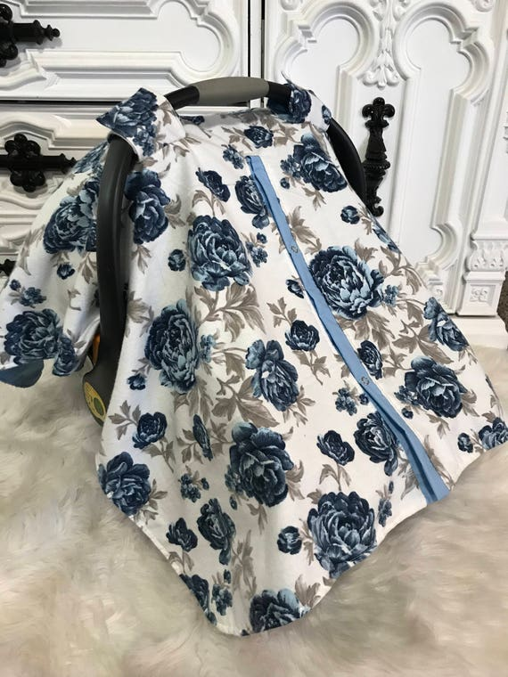 Car seat canopy , floral , elegant , car seat cover , baby blue and gray