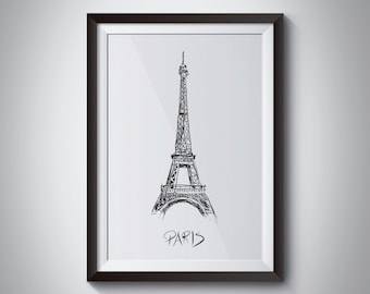 Hand Drawn Eiffel Tower Print, Instant Download, Digital File