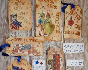 Patriotic Tags & Sayings collage sheet PDF -  flag primitive paper old photos