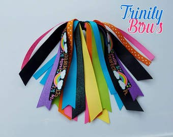 Pretty and Perfect Ribbon Streamer - Rainbow - Ponytail Streamer - Black