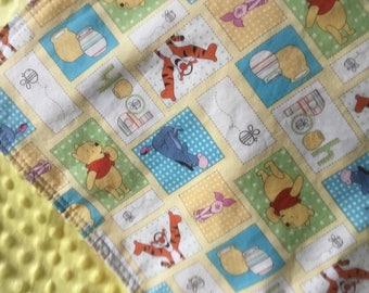 Winnie the pooh blanket-100 acre woods blanket-Winnie the Pooh nursery-toddler minky blanket-Winnie thepooh bedding-winniethepooh blanket