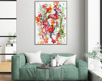Wall Art Print Floral Painting Watercolor Art Red Floral Wall Art Modern Housewarming Gift Idea CreativeIngrid