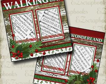 WALKING in a WINTER Wonderland - 2 Premade Scrapbook Pages - EZ Layout 2522