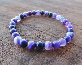 Banded Purple Agate, Chakra Bracelet, Healing Meditation Bracelet, Yoga Bracelet, Wrist Mala, Buddhist Bracelet, Crown Chakra Bracelet