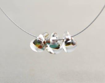 Lampwork Bead, Brown Aqua Clear Bead, Summer Bead, 10mm Glass Bead, One
