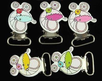 1 clip pacifier 4.0 cm x 2.1 cm pink pram clip, ref: AT003R