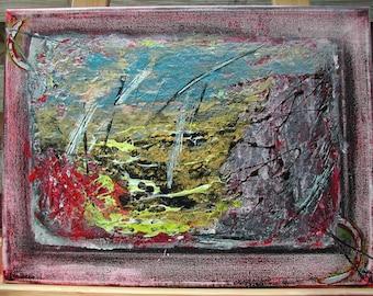 Tableau mixed-média abstrait en acrylique et peinture à effet H.ANGIARI, peinture moderne, peinture abstraite