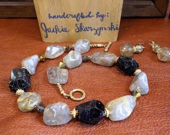 Chunky Gemstone Necklace Set With Rutilated Quartz and Black Tourmaline
