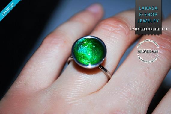 Ring Green Enamel Sterling Silver Jewelry Best gift idea for her Birthday Anniversary Fine Greek Art Woman Summer Collection Moda Girlfirend
