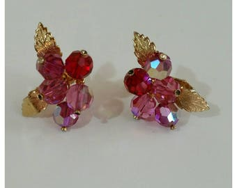 Vintage Clip On Earrings, Leaves and Crystals, pink and Gold.