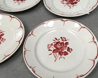 Set of 6 Plates, more available! Vintage French Rose Design