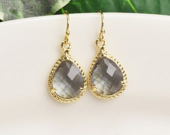 Crystal Drop Earrings - Charcoal Gray Earrings for Women - Glass Earrings - Gold Plated Earrings - Bridesmaids Earrings - Bridesmaid Jewelry