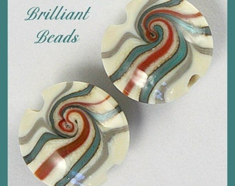 Desert Stripes...Matched Lampwork Glass Bead Pair, Handmade Glass Beads SRA, Made To Order