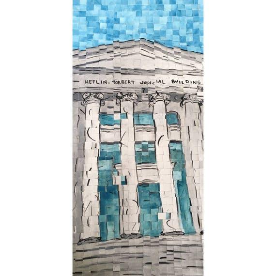 "Montgomery Alabama - Alabama Supreme Court -Architectural Art - Original Painting 10""x20"""