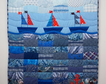 Blue Patchwork Quilt, Made to Order, Nautical Quilt with Sailboats , Children Blanket, Toddler Quilt, Unique Handmade Quilt, Boy Gifts