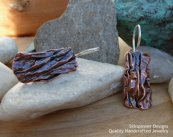 Fold formed copper rectangular earrings