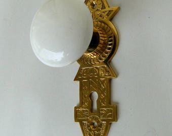 Victorian Reproduction Door Hardware Passage Set with Latch white porcelain knobs