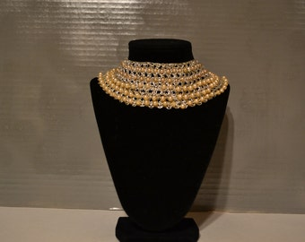 Vintage / 1950s / crocheted collar / silver and  pearl / collar / hand made / silver / pearl / hand crocheted / loop closure / 1950s collar