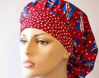 Scrub Hats Bouffant Medical Scrub Hat - Patriotic Blue Stars and Eagles on a Red Background with White Stars
