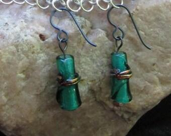 Niobium Hypoallergenic Emerald Green Glass Bamboo Bead Earrings