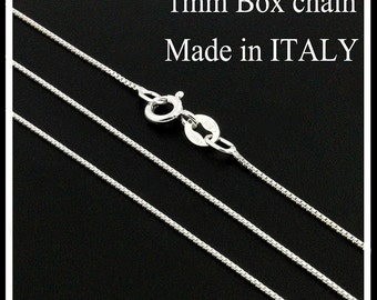 "sterling silver Box chain 1 mm thickness Italian box chain necklace 14"" 16"" 18"" 20"" 22"" 24"" 30"" (Z-04)"