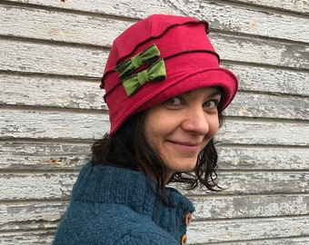 Organic Cotton and Heno Cloche Hat- Flapper Style- Emma Rose- Red