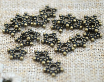 24pcs Metal Beads Antiqued Brass-Plated Pewter 9x2mm Star Rondelle Spacers