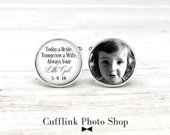 Today a Bride Cufflinks, Personalized Cufflinks, Photo Cufflinks, Father Of The Bride Cufflinks, Gift From Bride, Wedding Cufflinks