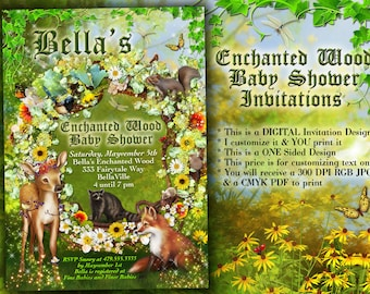 Enchanted Forest Shower, Baby Shower Invitation, Forest Theme Party Invitation, Birthday Invites