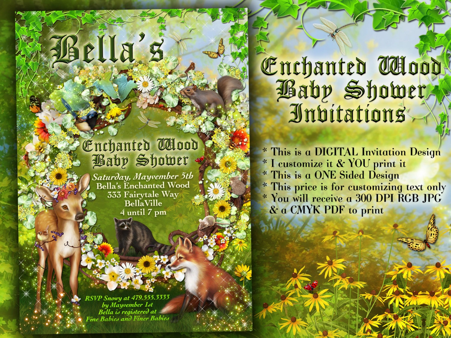 Enchanted forest shower baby shower invitation forest theme zoom stopboris Gallery