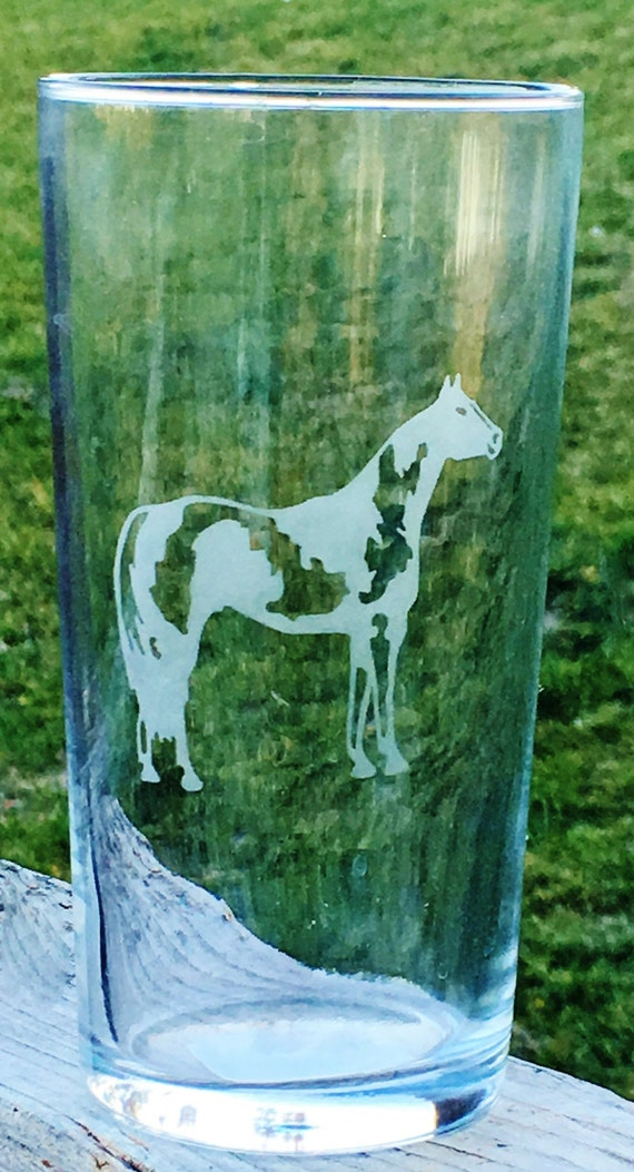 Paint Horse, Drinking Glass, Horse Gift, Wedding Gift, Etched Glass, Etched Horse, Horse