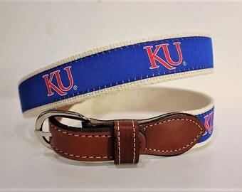 University of Kansas  Men's  Web Leather Belt
