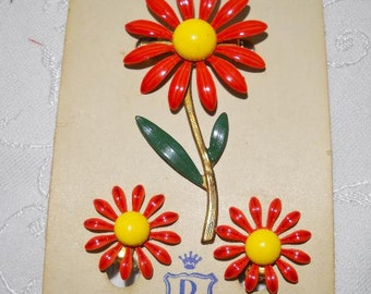 Vintage DuBarry Orange and Yellow Daisies Brooch and Earrings