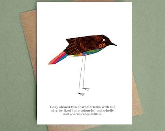 Rainbow-bellied black bird greeting card blank
