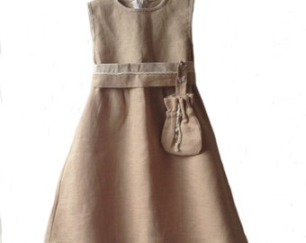 Linen dress natural beige, summer dress natural linen, girls linen dress, summer dress linen, girls linen clothes, natural linen dress