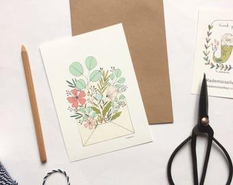 Carte et enveloppe kraft - carte illustrée, bouquet de fleurs, illustration botanique