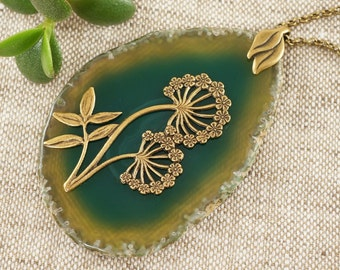 Necklace with green Agate slice, Forest Flowers (#5467)