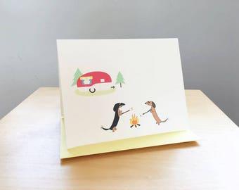 "Dachshunds Camping - Single Card (4.25"" x 5.5"")"