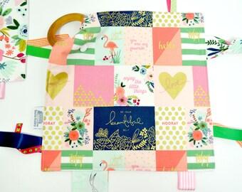 Teething blanket, Teething toy, wooden ring, Baby, baby toy, teether, Lovey, sensory ribbon blanket, tag blanket, taggies, security blanket