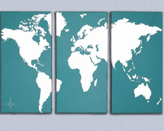 World Map Triptych Canvas Giclee - Teal and White