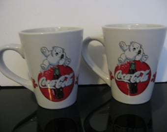 Vintage 2-Coca-Cola Baby Polar Bear Coffee Mugs